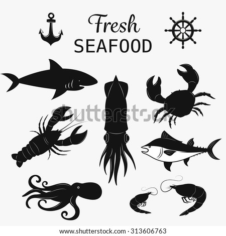 Seafood symbols set - stock vector