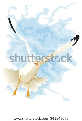 seagull flying on face - stock vector
