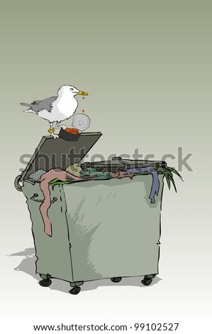 Seagull found in trash full caviar cans - stock vector