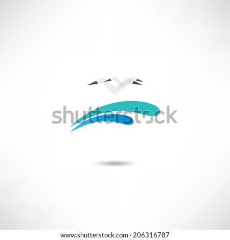 Seagull icon - stock vector