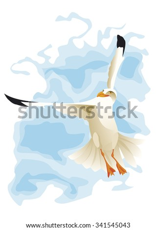 seagull wing in sky - stock vector
