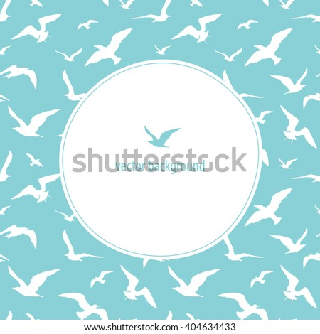 Seagulls seamless pattern. Vector background. Frame for logo, label or greetings. - stock vector