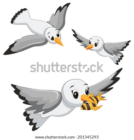 Seagulls Vector Illustrations - stock vector