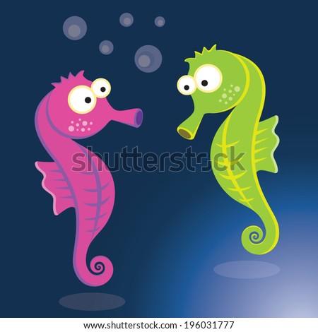 Seahorse. Vector illustration of colorful seahorse. - stock vector