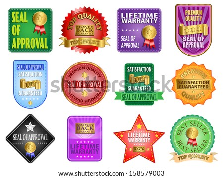 Seal of approval and satisfaction guaranteed labels vector illustration - stock vector