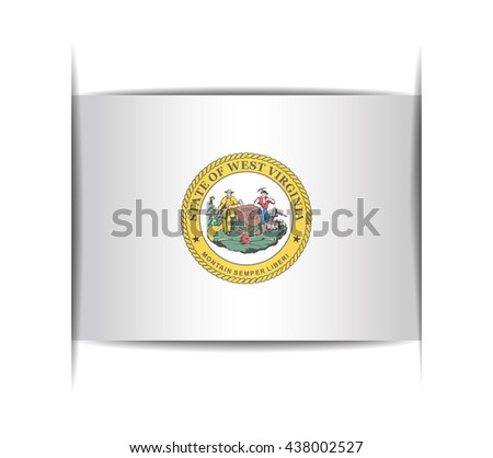 Seal of the state of West Virginia. Vector illustration of a stylized seal. The slit in the paper with shadows. Element for infographics. - stock vector