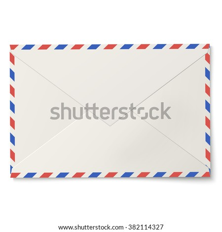 Sealed air mail white envelope isolated on white background - stock vector