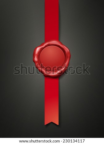 sealing wax with ribbon isolated over white background - stock vector