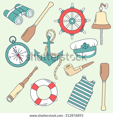 Seaman hand drawn icon set. Doodle collection elements - stock vector