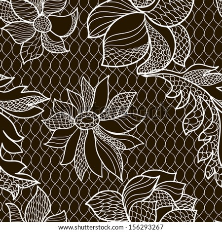 seamles floral lacy background - stock vector