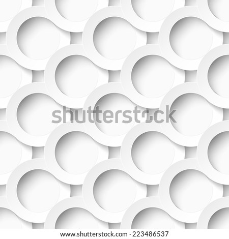 Seamles pattern of white circles with drop shadows. Vector illustration - stock vector
