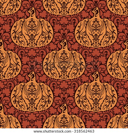 Seamless abstract autumn natural pattern. Ornament with floral elements and decorative pumpkins. Thanksgiving colorful background - stock vector