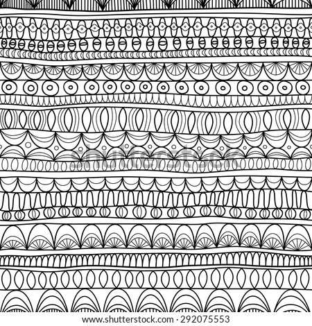 Seamless abstract aztec hand-drawn pattern - stock vector