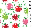 Seamless abstract background pattern of colorful apples vector. This graphic illustration can be used for wallpaper, pattern fills, web page background, surface textures, etc. - stock vector