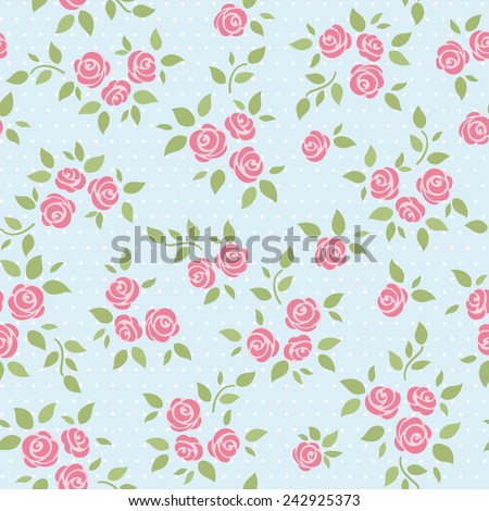 Seamless abstract background with roses - stock vector