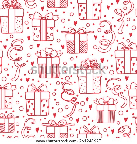 Seamless abstract birthday pattern, Gift boxes background. - stock vector