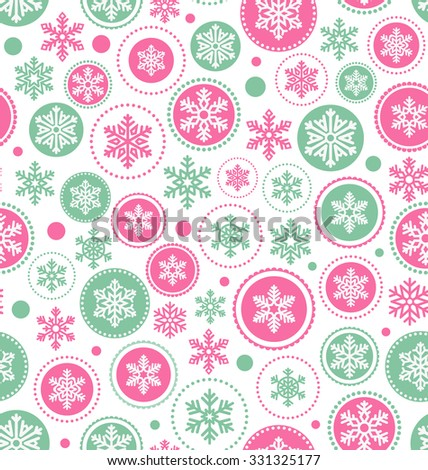 Seamless Abstract Christmas Pattern with Snowflakes Isolated on White Background - stock vector