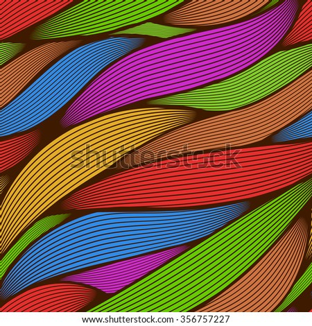 Seamless abstract colorful line art leaves vector background. - stock vector