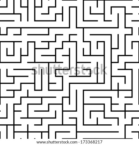 seamless abstract complex maze, labyrinth - stock vector