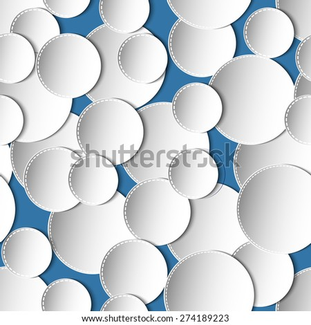 Seamless abstract 3D white spheric elements on blue background. Vector EPS10 pattern.  - stock vector