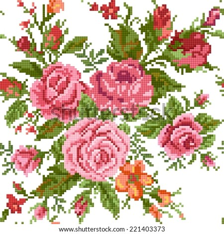 seamless  abstract  floral  background with bouquet of the roses, embroider - stock vector