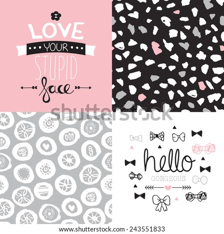 Seamless abstract flower hearts and dots background pattern illustration and love and gorgeous postcard cover text design in vector Valentines collection - stock vector