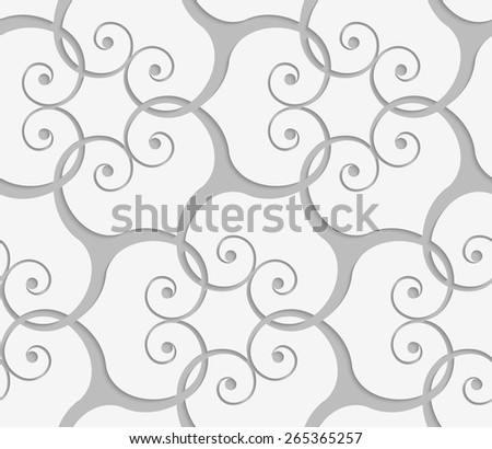 Seamless abstract geometric background. Light gray swirly ornament. With ealistic shadow and 3D cut out of paper effect.Perforated overlapping swirls. - stock vector