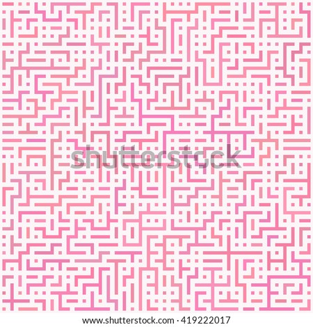 Seamless abstract geometric pattern. Random color labyrinth elements on white background. Vector illustration. - stock vector