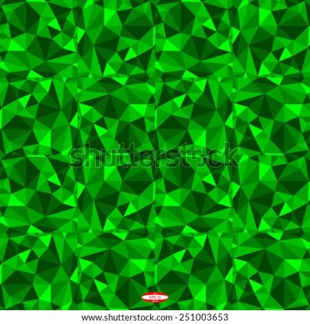 seamless abstract green pattern emerald texture abstract green line on emerald background with tetrahedron vector - stock vector