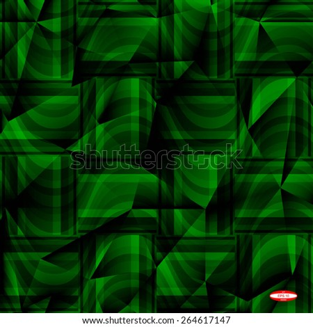 seamless abstract green pattern emerald texture with rectangle with green line on dark green wicker background vector - stock vector