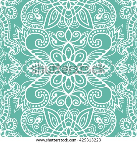 Seamless abstract hand-drawn lace pattern. Decorative stylized floral seamless background. Tribal ethnic ornate decor, geometric doodle seamless texture for wallpaper, web page background - stock vector