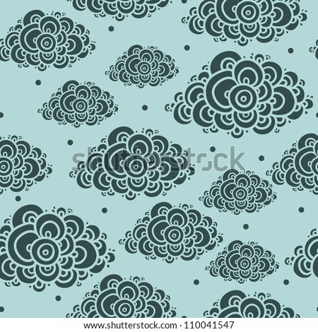seamless abstract hand-drawn pattern, clouds background. Seamless background with clouds. Vector illustration. - stock vector