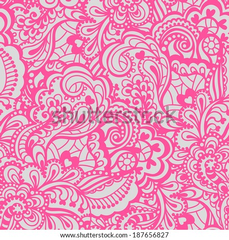 Seamless abstract hand-drawn pattern. Gorgeous seamless floral background. Vector illustration. - stock vector