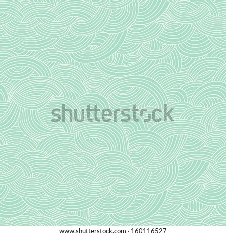 Seamless abstract hand-drawn pattern, waves background. Seamless pattern can be used for wallpaper, pattern fills, web page background,surface textures. Gorgeous seamless floral background - stock vector