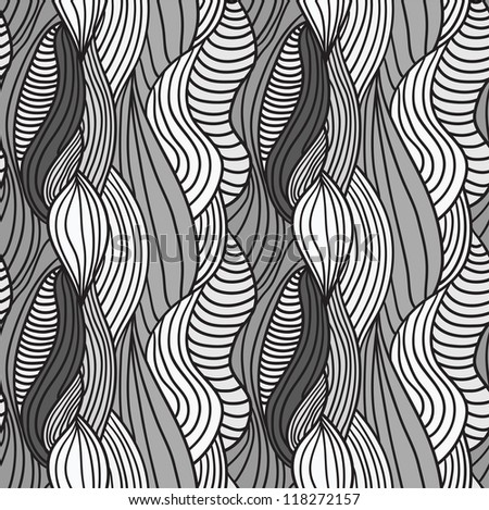 Seamless abstract hand-drawn vector pattern, waves hair background - stock vector