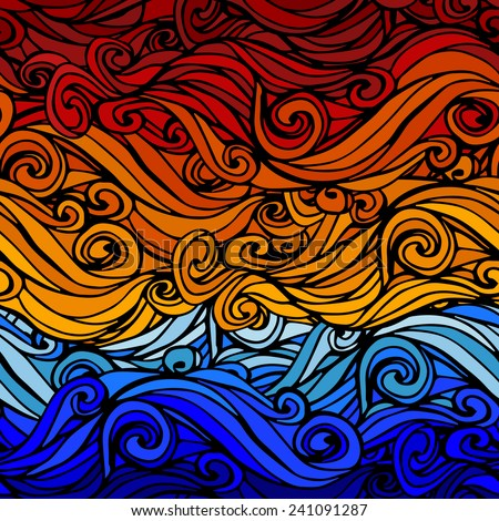Seamless abstract hand-drawn waves Background - stock vector