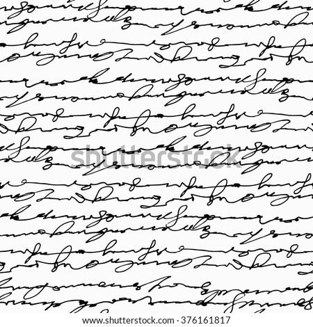 Seamless abstract handwritten text pattern - stock vector