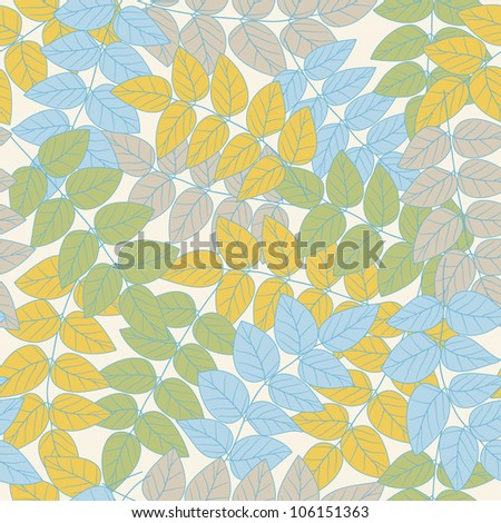 Seamless abstract leaves pattern background - stock vector