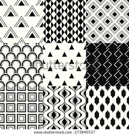 seamless abstract monochrome geometric pattern - stock vector