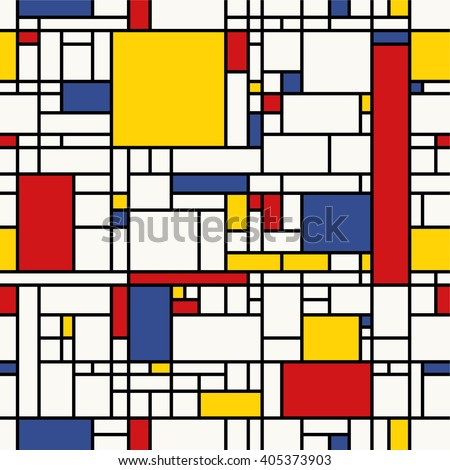 Seamless abstract mosaic pattern. (Piet Mondrian emulation). - stock vector