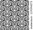 Seamless abstract pattern of flowers in black and white. Vector illustration. - stock vector
