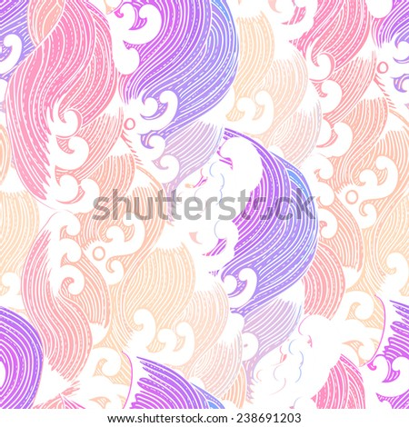 Seamless abstract pattern, waves background, wallpaper  - stock vector
