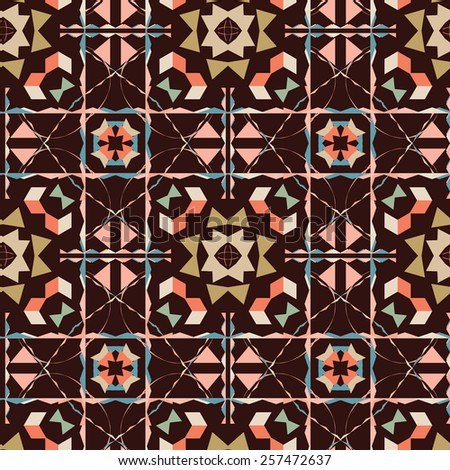 Seamless abstract pattern with bright colors on brown background. - stock vector