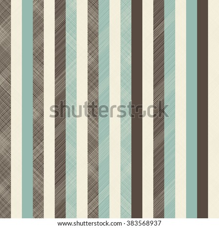 seamless abstract pattern with brow, beige and turquoise stripes on texture background - stock vector