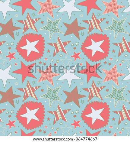 Seamless abstract pattern with drawn stars. Starry decorative background. Doodle cute texture - stock vector
