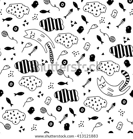 Seamless abstract pattern with dreaming cats and stuff. Childish funny background. Hand drawn vector illustration. Black and white doodle/drawing. - stock vector