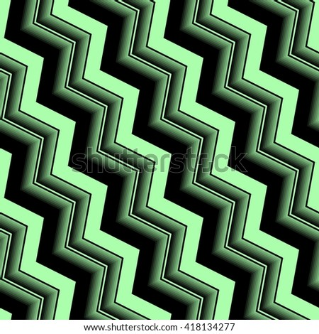 Seamless abstract pattern with green and black curved lines - stock vector