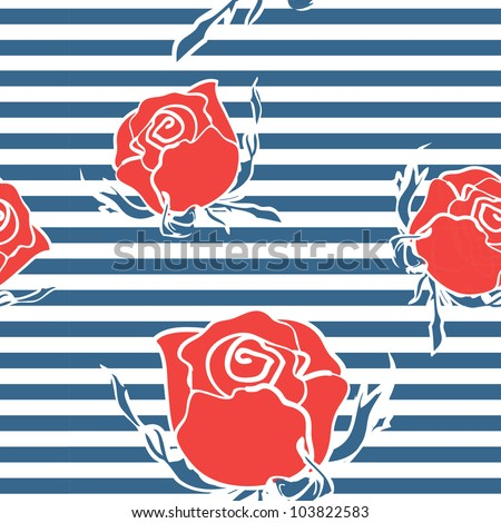 Seamless abstract pattern with roses on marine strips - stock vector