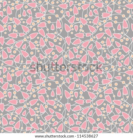 Seamless abstract pink flowers on gray background, vector illustration - stock vector