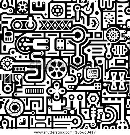 Seamless abstract vector background with black and white industrial items - stock vector